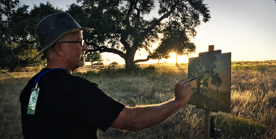 Bill Farnsworth at Sunset on the Harkey Ranch