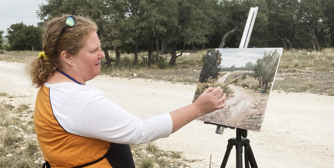 Brienne Brown painting at Quillen Ranch