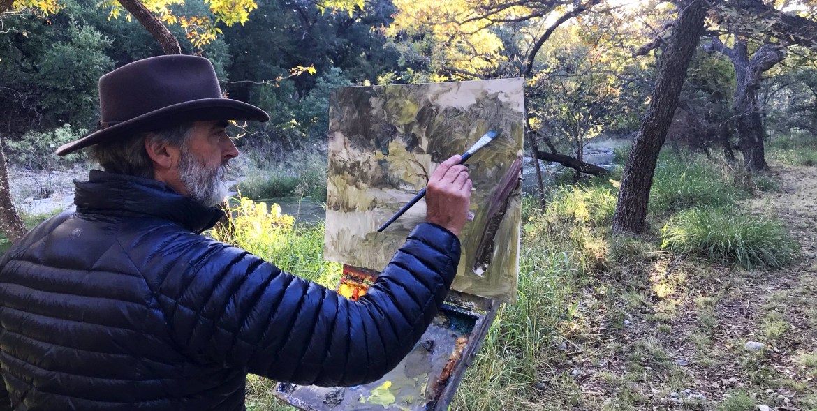 Thomas Kitts painting the Head of the River Ranch