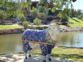 SHEEP ALONG SIDE THE CONCHO