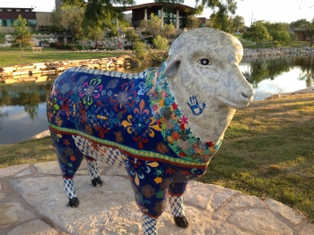colorful sheep on river